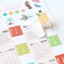 Ограниченное предложение Красочный мультфильм Дизайн 2018 Календари Стикеры 11.5*21 см DIY индекс Бумага Наклейки 2 шт./лот Бесплатная доставка