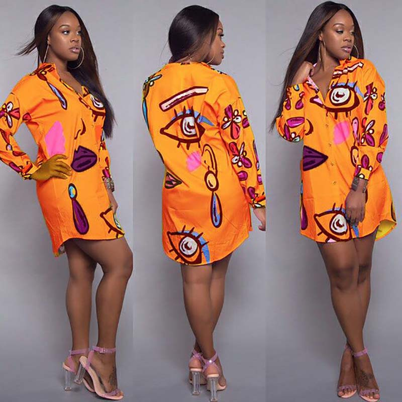Sexy Africa Clothing Women Bazin Riche African Shirt Dress Casual Abstract Personality Printed Loose Plus Size Long Blouse Lady