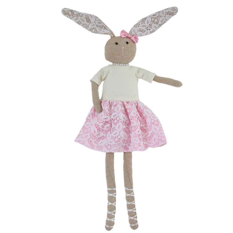 55cm Animal doll wearing pink skirt rabbit doll wearing pearl beautiful baby animal doll girl birthday gift stuffed animal 120 cm cute love rabbit plush toy pink or purple floral love rabbit soft doll gift w2226