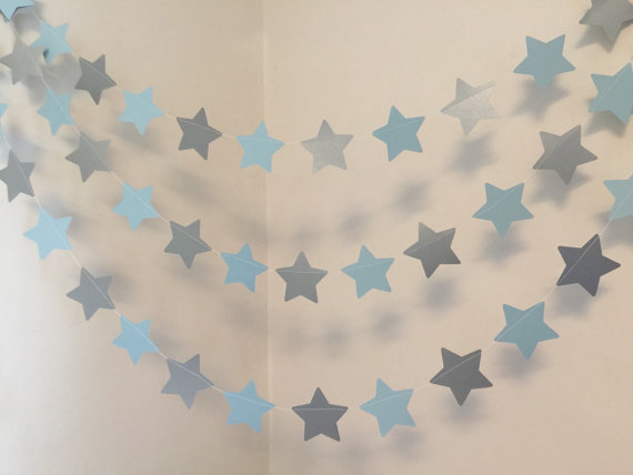 Twinkle Little Star Birthday Decorations Blue Silver Baby Shower Decor Boy Banner 10 Foot Garland In Banners Streamers Confetti From