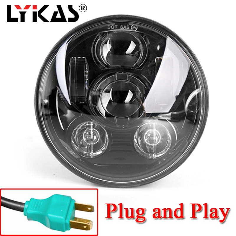 LYKAS 5.75 Inches Daymaker LED Motorcycle Headlight for Harley Davidson sportster triple low rider wide glide Headlamp Projector цена