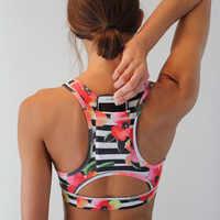 Femmes sport soutien-gorge avec poche de téléphone imprimé Yoga Haut Fitness vêtements de course Haut Femme rembourrage Gym Bras sans fil Top Deportivo Mujer