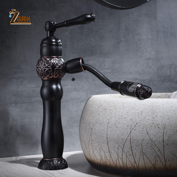 ZGRK Basin Faucets Bath Black Oil Rubeed Bronze Pull Out Bathroom Basin Sink Faucet Vanity Faucet Wash Mixer Taps Crane SLT140B