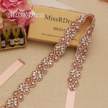 MissRDress Rhinestones Beads Wedding Belt Crystal Flower Bridal Belt Rose Gold Diamond Bridal Sash For Wedding Dresses JK818
