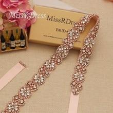 MissRDress Rhinestones Beads Wedding Belt Crystal Flower Bridal Belt Rose  Gold Diamond Bridal Sash For Wedding Dresses JK818 a9943d614fac