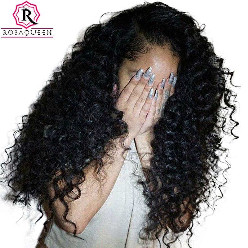 Curly Parte Dianteira Do Laço Perucas de Cabelo Humano Para As Mulheres 250% Densidade Brasileira Peruca do Laço do cabelo Pré Arrancadas Extremidades Completas Rosa Rainha Remy Preto