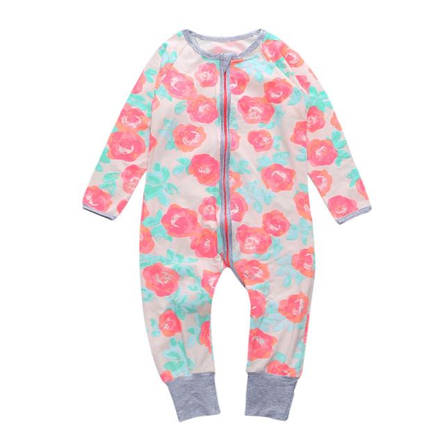 2017 Primavera Outono Rosa Floral de Algodão Do Bebê Recém-nascido Roupas Footies Macacão Infantil Manga Comprida Footies Criança Global