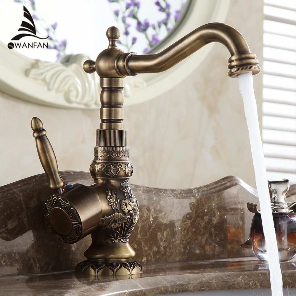 Antique Brass Bathroom Faucet Basin Carving Tap 360 Degree Rotating Single Handle Hot and Cold Water