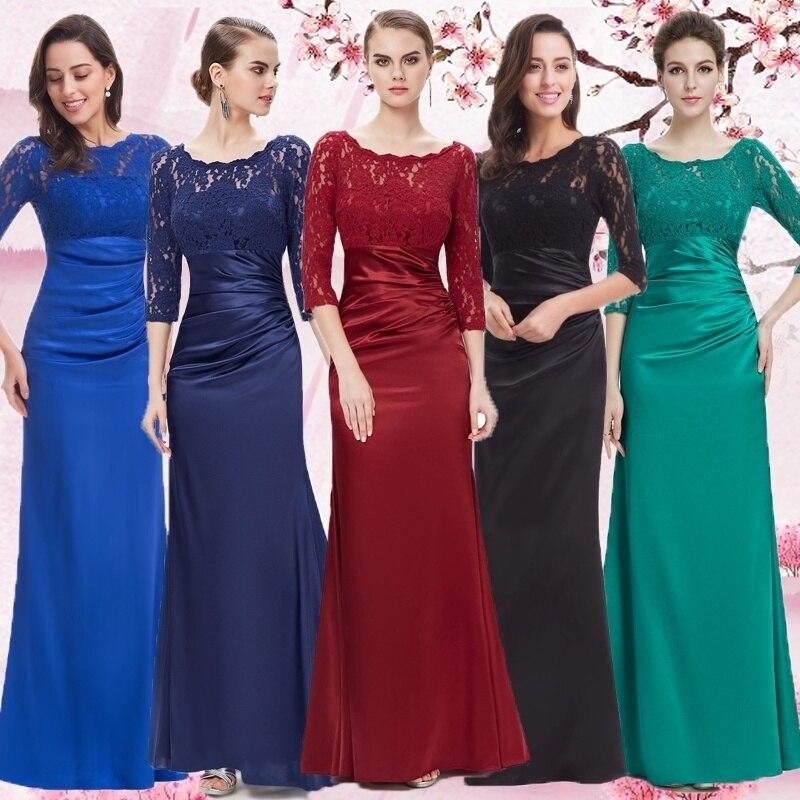 Evening     Dresses   Ever Pretty 09882 Long Autumn Style Elegant Sleeve Lace 2019 vestidos de noche con mangas Formal   Evening     Dresses