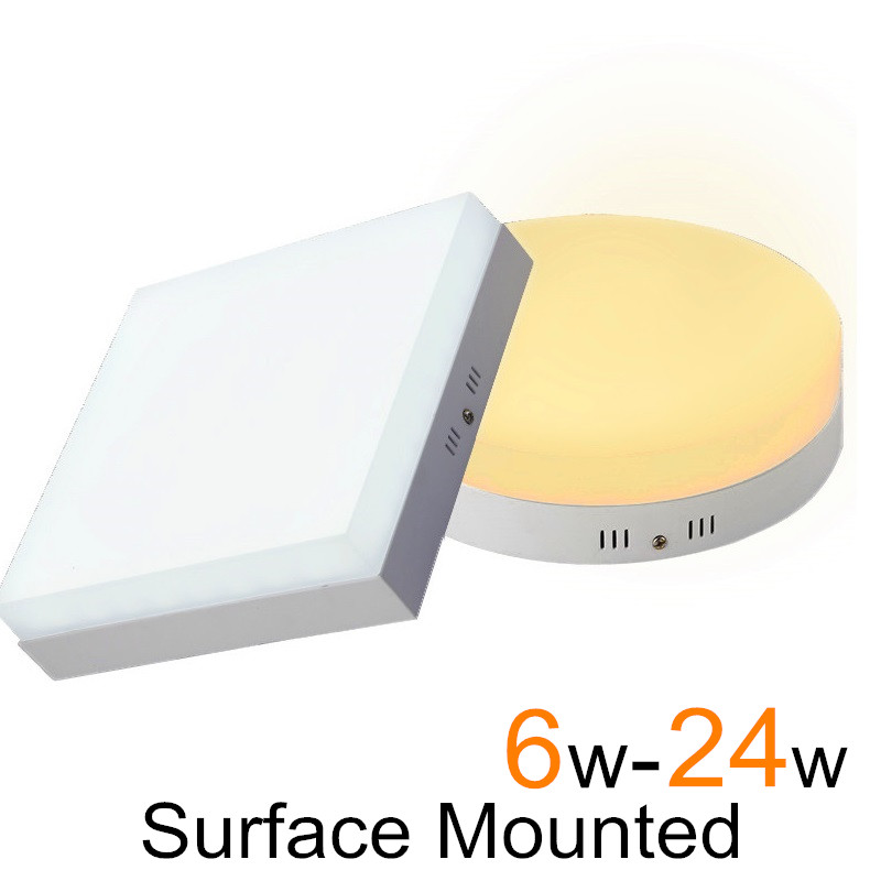 Surface Mounted LED Ceiling Light 6W 12W 18W 24W Round Square Panel LED Light Plafonnier Indoor Hallway Lamp AC85-265VSurface Mounted LED Ceiling Light 6W 12W 18W 24W Round Square Panel LED Light Plafonnier Indoor Hallway Lamp AC85-265V