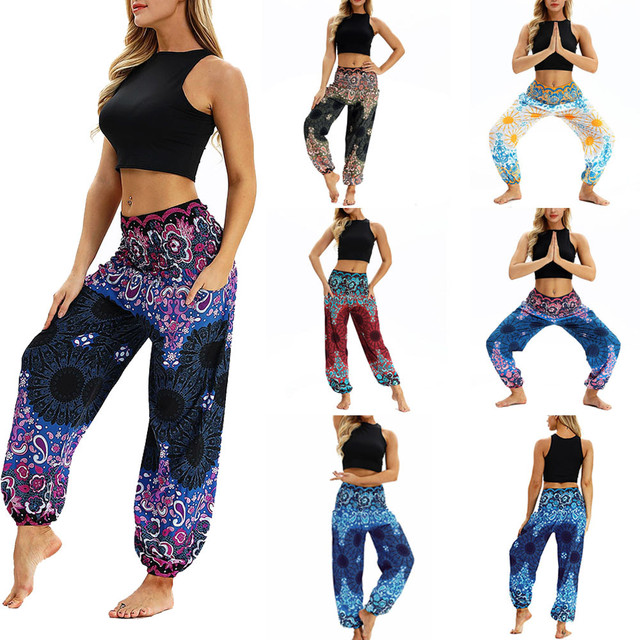 Fashion Bohemian Loose Pant Men Women Casual Hippy Trousers Baggy Aladdin Harem Pant Multi Colors Printed Trousers