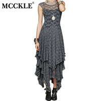 MCCKLE Women Asymmetrical Lace Maxi Dress Summer Fashion Hippie Style Boho Dress Sexy Hollow Out Lace