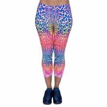 تصميم جديد سراويل كابري النسائية الملونة بطبعة الفهد المثير منتصف الساق 3/4 حركة اللياقة البدنية سراويل نسائية كابري
