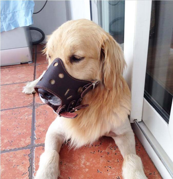 Soft PU Leather Adjustable Dog Mouth Muzzle Dog Prevention Bite Masks Anti Bark Bite Mouth Muzzle Grooming Chew Stop For dog