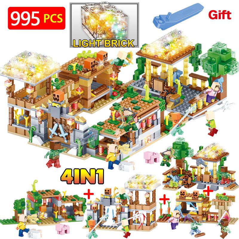 New Hot Blocks Compatible LegoINGLYS Minecrafte 3D Light Farm Village Series DIY Guard Educational Toys For Children 48pcs wooden building blocks set children diy pasture village farm educational wood blocks random patterns