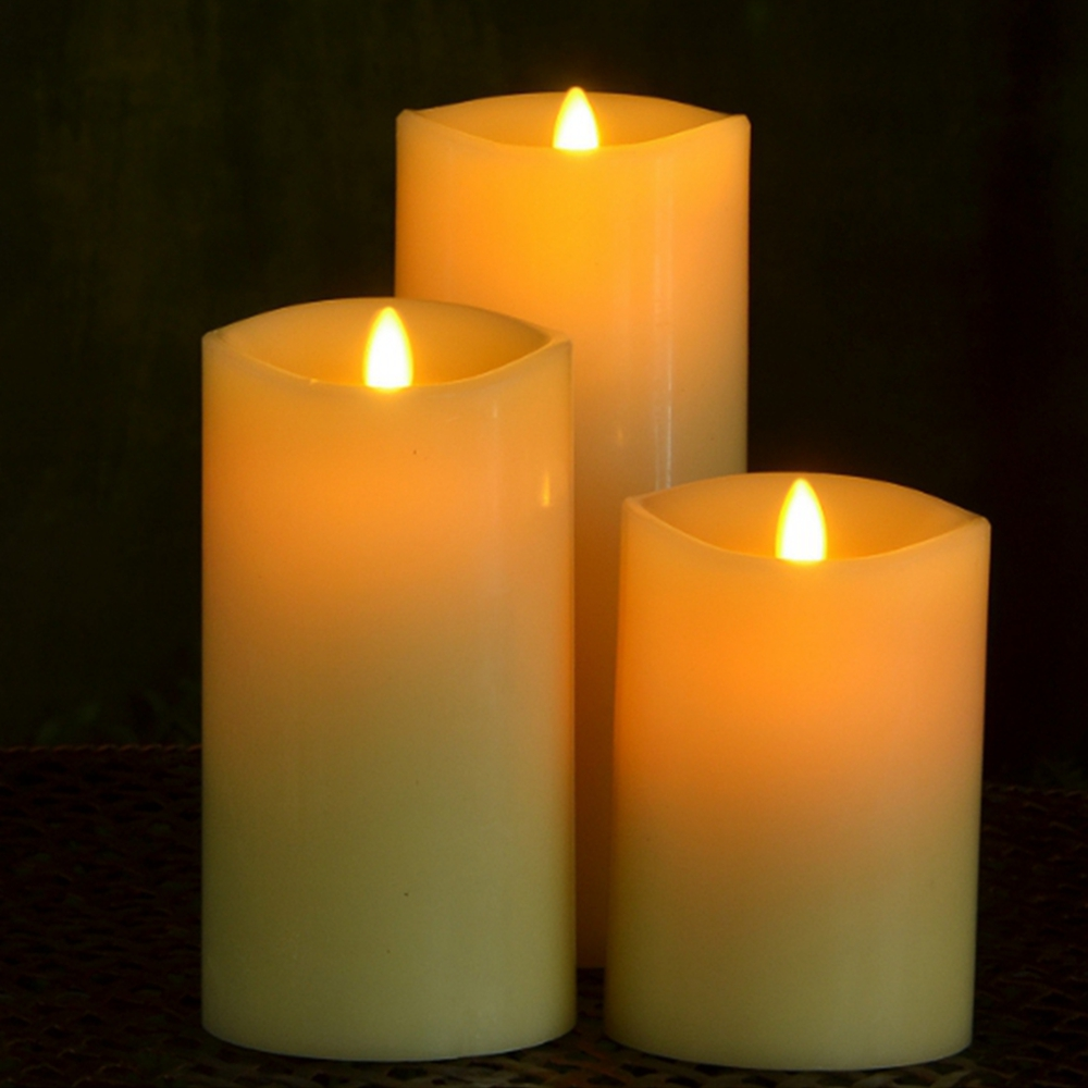Set of 3pcs,3 Inch by 4/6/8 Inch Real Flame Effect LED Flameless Candle with Remote/Timer 360 Wave Edge Ivory