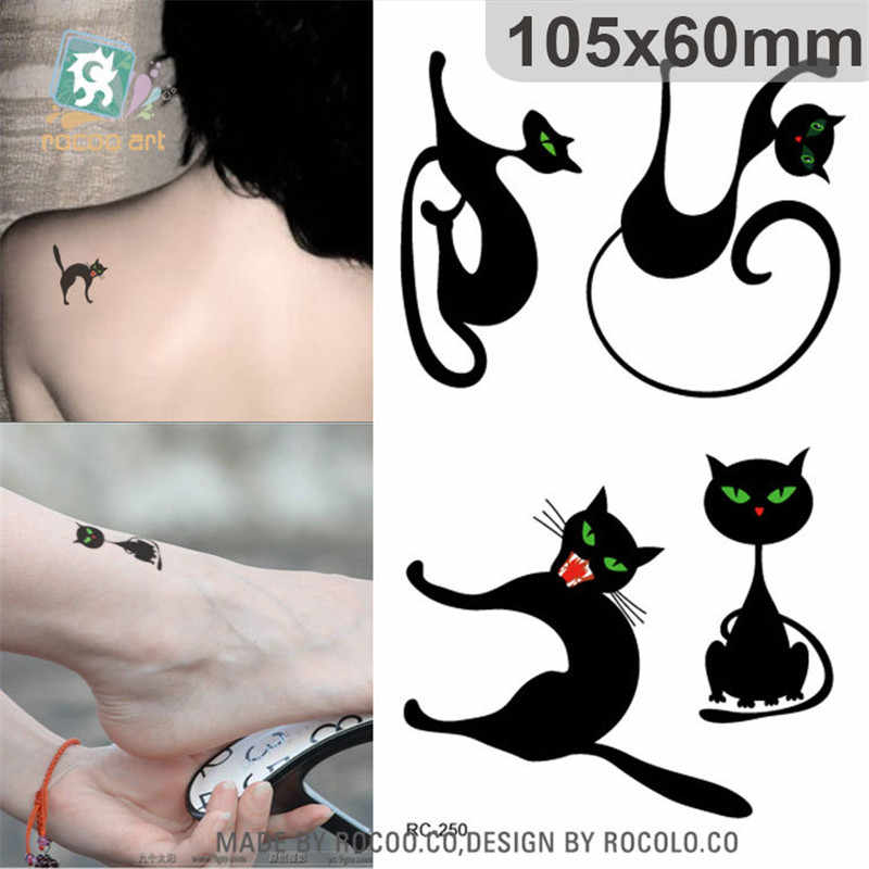 Di Arte di corpo impermeabile tatuaggi temporanei per gli uomini e le donne carino 3d nero di disegno del gatto piccolo autoadesivo del tatuaggio Commercio All'ingrosso RC2250