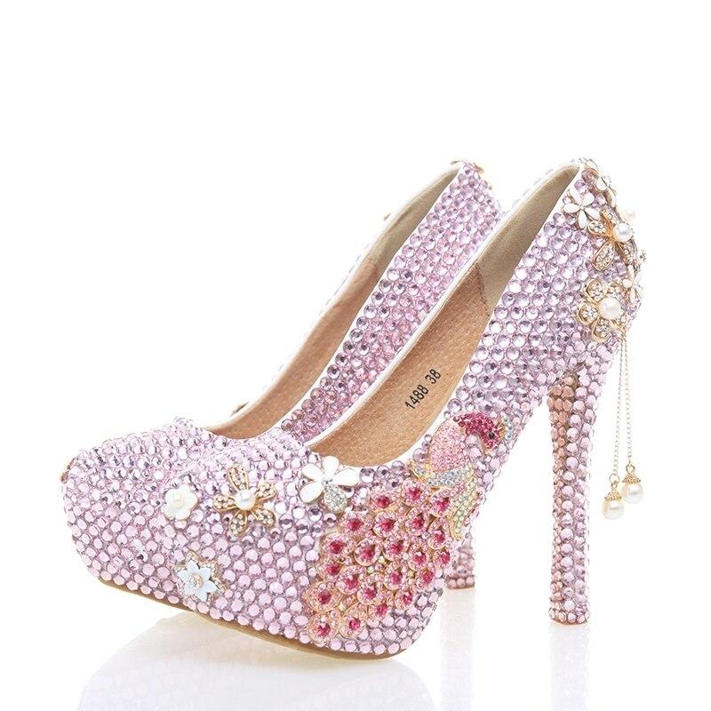 Partito Pompe Fenice Rosa pink Di 12cm Heels Pink Heels Degli Mano Sottile Fatti 10cm Alti Scarpe Delle Talloni Sposa Strass Donne Tacco A Da Madre Banchetto 14cm xAOYnqwCXO