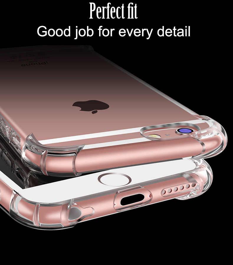 Telefon etui na iPhone'a 11 Pro Max X 8 7 6 6S Plus X XS XR pokrywa tylna dla 5 5S SE miękkie silikonowe TPU przezroczysty Coque Capa