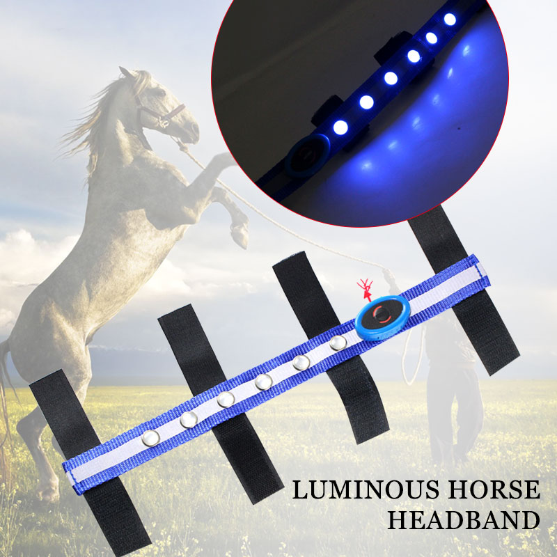 Horse Head Straps LED Equestrian Reins Practical Blue Polyester Horseman Sports Outdoor