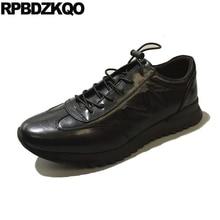 Зимняя Повседневная дизайнерская обувь черного цвета на шнуровке; роскошные мужские кроссовки из натуральной кожи; удобные кроссовки с круглым носком; высокое качество