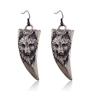 Vintage Horn-shaped Wolf Dog Earrings Punk Animal vintage Long Earrings For Women Brincos Wolf Head Earring Drop Shipping HipHop