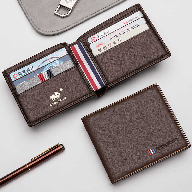 BISON джинсовый новый кошелек из коровьей кожи мужской модный двойной мужской короткий кошелек для карт кошелек из натуральной кожи для мужчин держатель для карт N4475