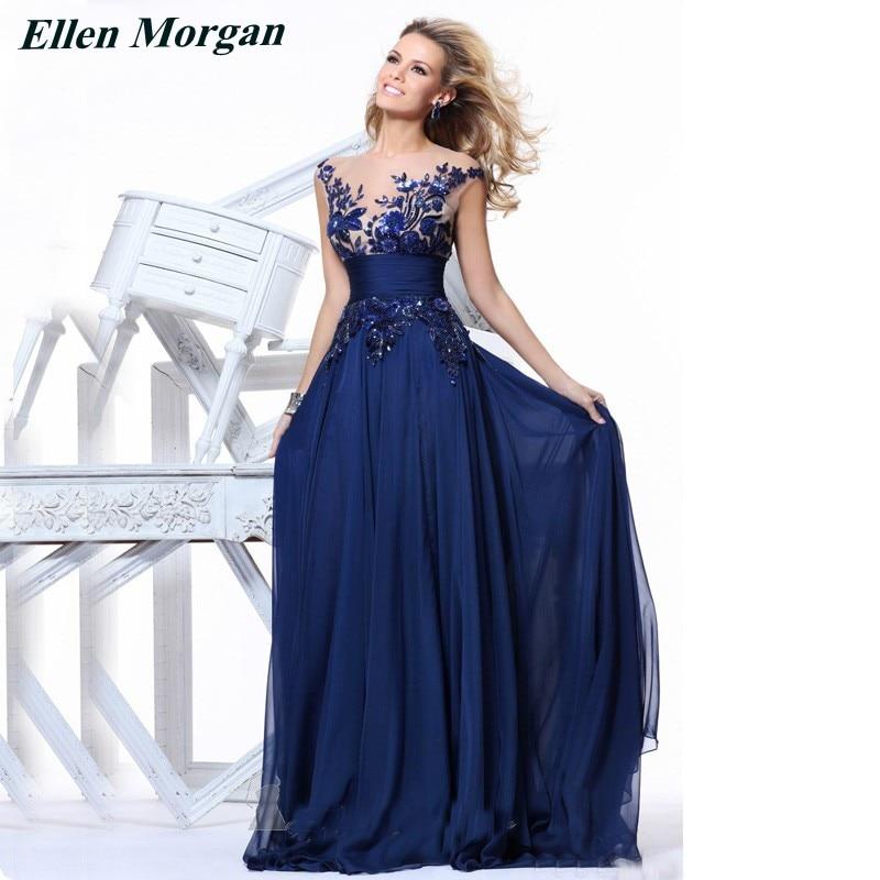 Royal blue corset chiffon evening dresses 2017 elegant party sheer neck long sexy red carpet formal