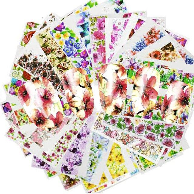 48Pcs Hot Water Transfer Ontworpen Nail Sticker Blossom Bloem Kleurrijke Volledige Tips Stempel Decals Nail Art Schoonheid A049 096SET
