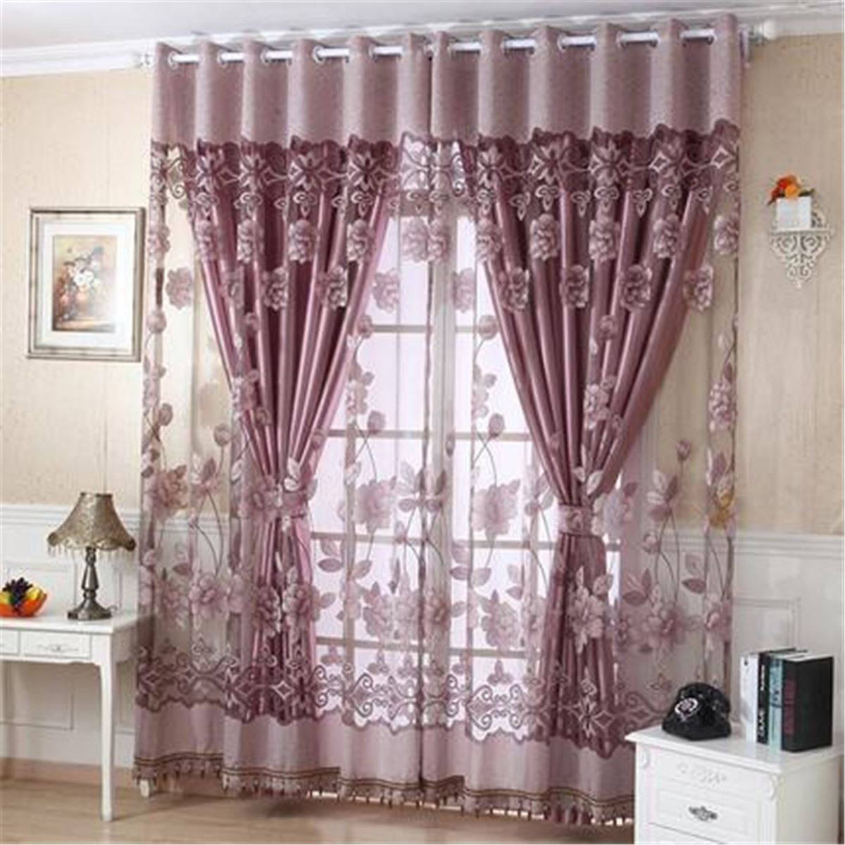 drapes elrene curtains p x curtain in and ivory scarf window w panel valance pocket l rod