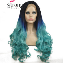 StrongBeauty Long Wavy Synthetic Lace Front Wigs Heat Resistant Dark Roots Black Blue Ombre Hair Wig
