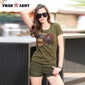 New Design Womens Tees Summer Fashion Printing Cotton Lycra Casual T Shirt Army Green Military Tops High Quality Gs-8503A