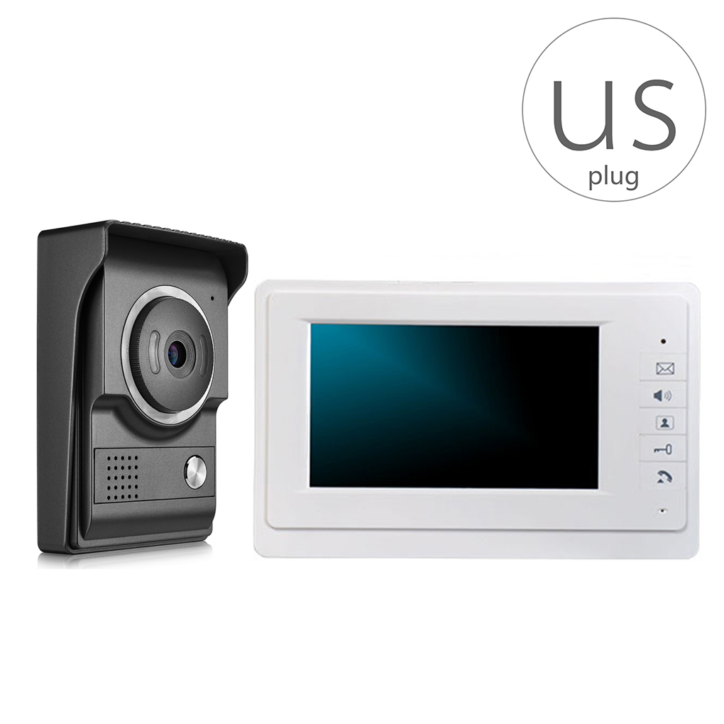 V70F-L+ 7 inch Color Video Door Phone Intercom Doorbell System Kit IR Night Vision Camera Doorphone Intercom Monitor 7 inch monitor video door phone intercom doorbell kits 1v6 video doorbell doorphone intercom system night vision alloy camera