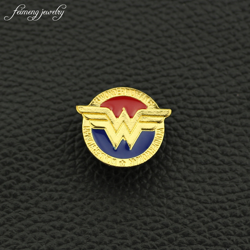 feimengjewelry Wonder Woman Gold Color Badge brooches pins Justice League Superhero Diana Enamel lapel pin men Women Gift