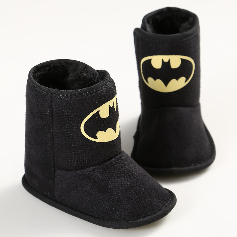 Winter Warm Baby Boy Batman Shoes First Walkers Velvet Boots Booty Crib Babe Toddler Boy Shoe For 0-1 Year DS19
