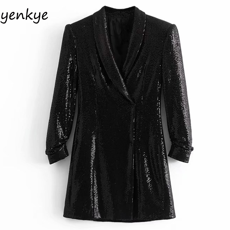 Spring 2019 Women Sequin Blazer Dress Elegant Lady Vintage Black Cross V Neck Long Sleeve Flowy