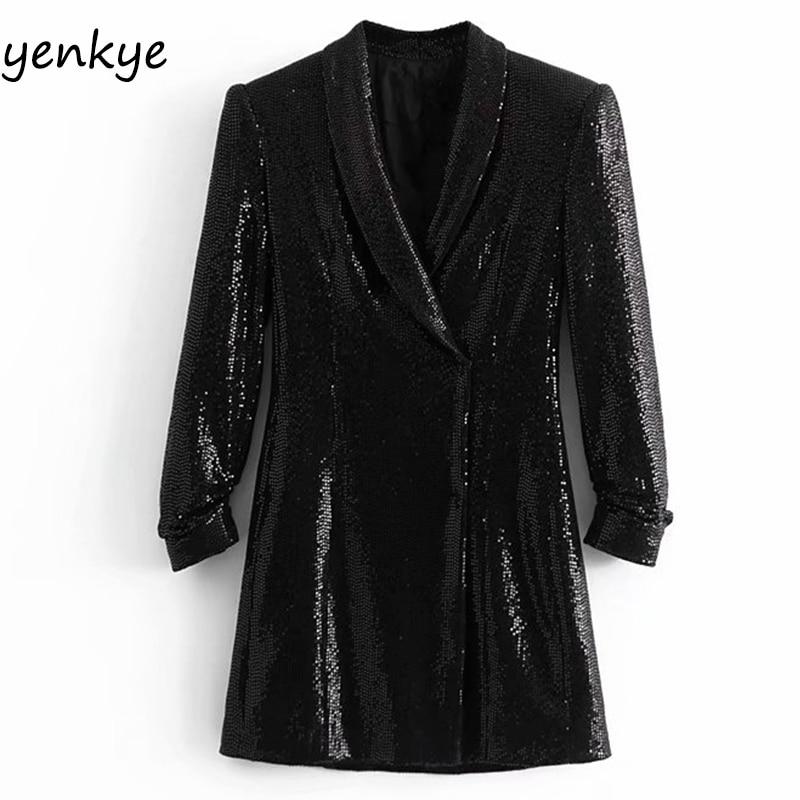 Spring 2019 Women Sequin Blazer Dress Elegant Lady Vintage Black Cross V Neck Long Sleeve Flowy
