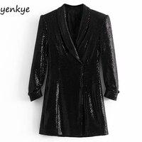 Spring 2019 Women Sequin Blazer Dress Elegant Lady Vintage Black Cross V Neck Long Sleeve Flowy Office Mini Dress vestido mujer