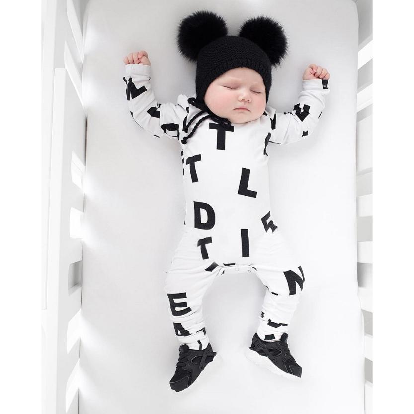Newborn Infant Baby Boy Girl Long Sleeve Letter   Romper   Jumpsuit Clothes Outfits D50