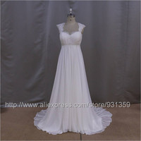 New Arrival Custom Made Sexy Maternity Wedding Dresses 2016 Desinger Shining Beaded Sash Chiffon Open Back