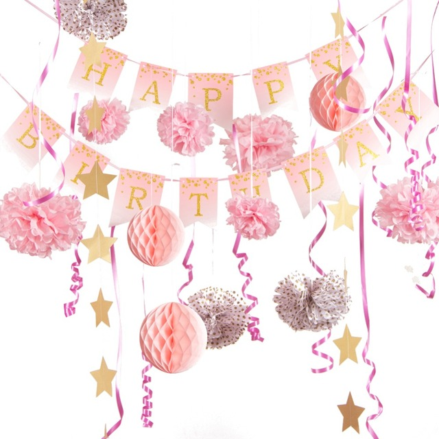 Pastel Pink Birthday Party Decorations Set Gold Glitter Polka Dots Happy Banner Baby Girl 1st Princess