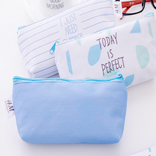 1pcs /lot Lovely Small Fresh Island Blue Canvas Pen Pencil Bag School Stationary