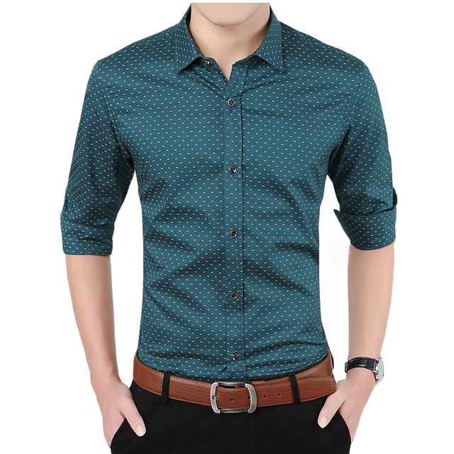 ff809efdf76 Plus Size M-5XL 5 Colors Men Green Letter W Print Business Formal Casual  Shirts Long Sleeves Party Wedding Dress Shirts Slim Fit