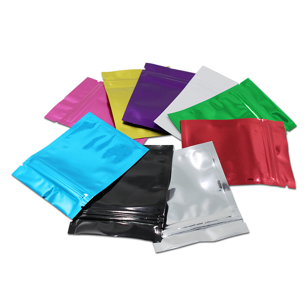 Retail 100pcs Lot 10 Colored Zip Lock Aluminum Foil Food Packaging Bag Snack Pouches Mylar Flat Self Seal Ziplock Package Bags In Storage From Home