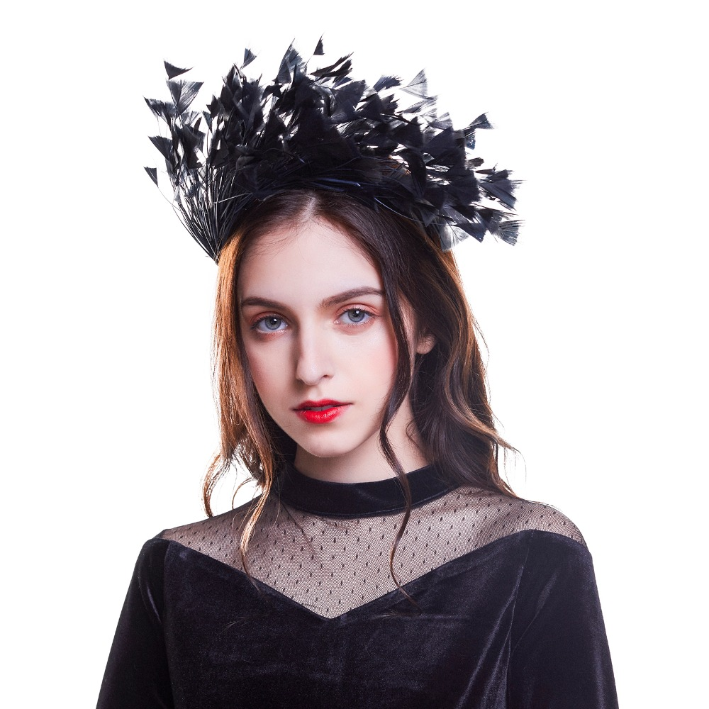 Haimeikang Women Headband Hair Band Fascinator Swan Masquerade Black Feather Headband Hair Hoop Fascinator Hair Accessories