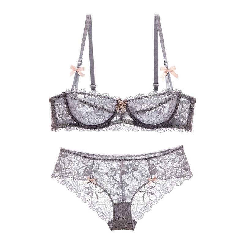 c2ca0256ea11a Hot Sexy Bra Set Plus Size 36 38 40 Ultrathin Underwear Women Set White  Lace Bra