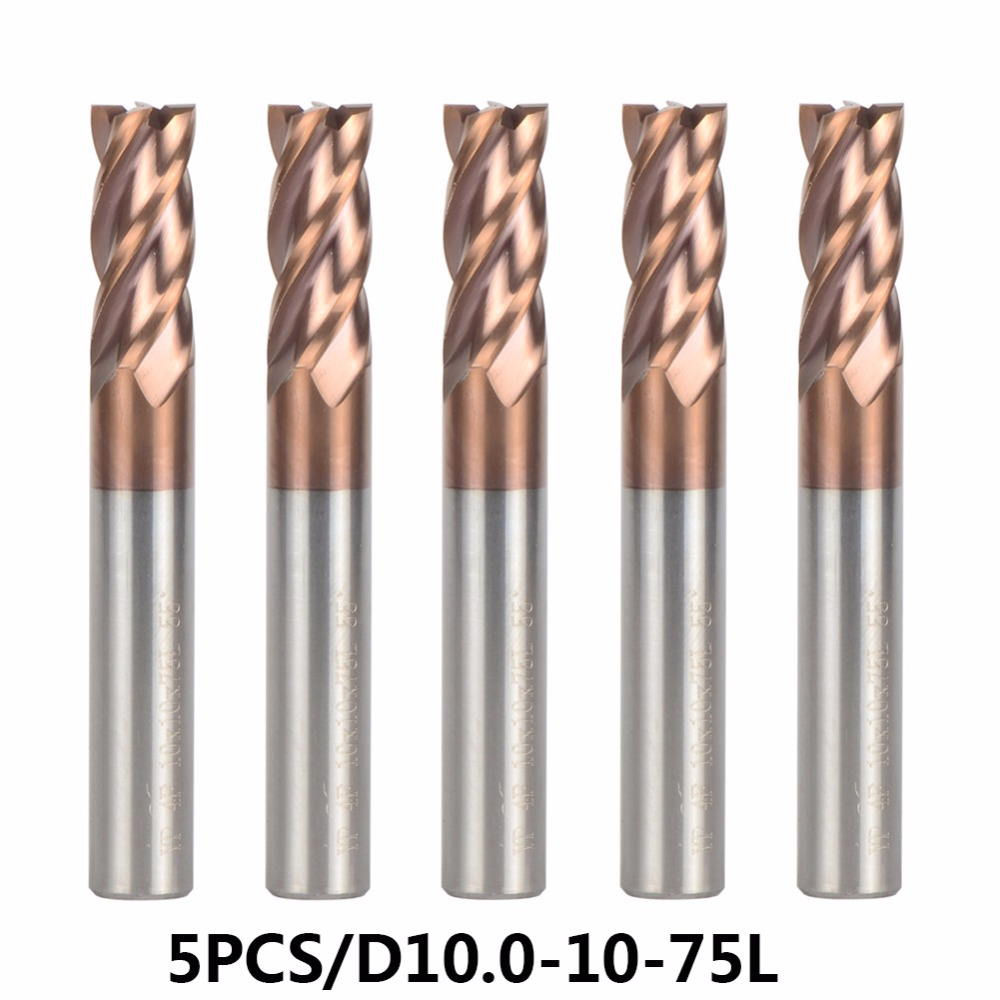 5PC D10 10 75 Carbide End Mill Diameter 10mm 4 blade Router Bit Set End Mills