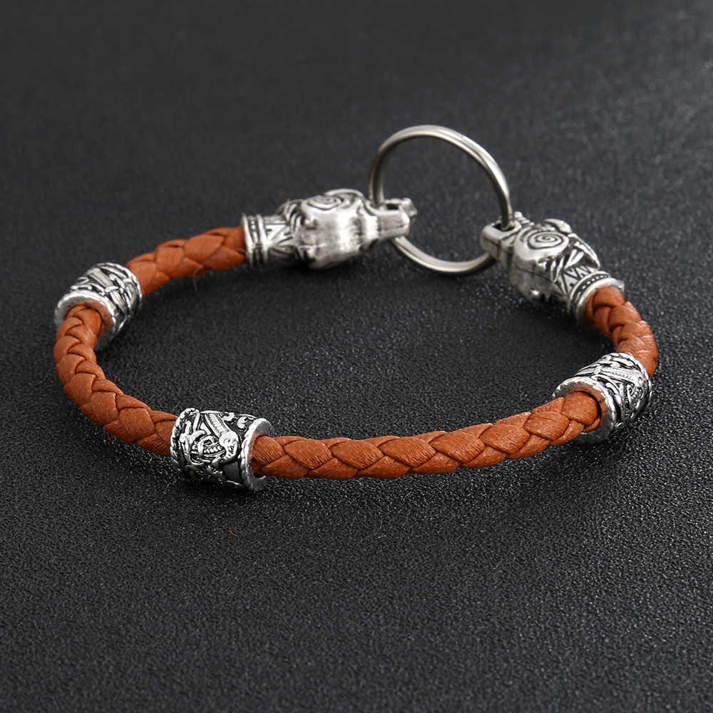 Руны викингов Орел Птица амулет-талисман Викинги шарик вальф голова браслет кожаный браслет для мужчин ювелирные изделия подарок
