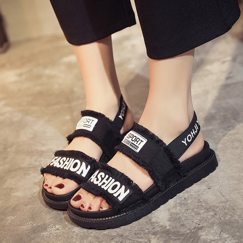 HEFLASHOR New Sandals Flats-Slip Platform Letter Elastic-Band Casual-Shoes Comfort Roman