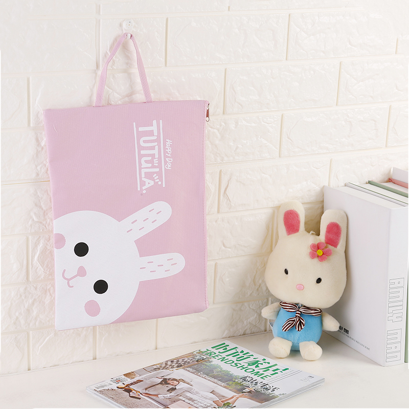 1pcs Kawaii Cartoon Animal A4 Oxford Cloth File Document Bag 2 Style Stationery Document Bag School Supply Waterproof